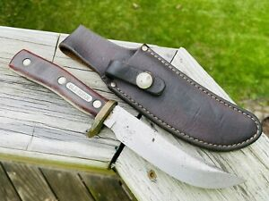 Old Vtg OLD TIMER SCHRADE WALDEN 165 Fixed Blade Knife W/Leather Sheath