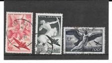 FRANCE 1946  SERIE MYTHOLOGIQUE. LOT DE 3 TIMBRES GOMMES CACHETS RONDS. 16/17/18