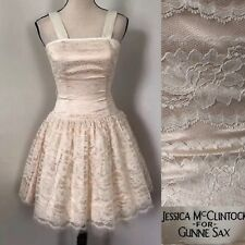 80s Jessica McClintock Gunne Sax 3/4 Lace Tulle Dress Ivory Peach Madonna
