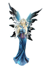 Blue Winter Fairy Statue with Tattoos Glitter Wings Mythical Fantasy Figurine