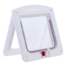Lockable Cat Flap Door Kitten Dog Pet Lock Suitable for Any Wall White R1BO