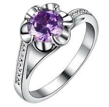 Fashion Women Purple Gemstone Zircon Crystal Silver Wedding Ring Jewelry Size 6