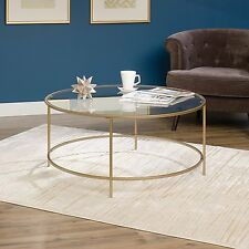 Sauder International Lux Round Coffee Table Glass Surface In Satin Gold  Finish