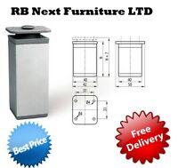 4 x Aluminium Leg Square Furniture Sofa Cabinet footstool side 60 100 150 mm