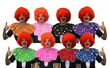Polka Dot Clown Collar With Red Afro & Nose Circus Fancy Dress Accessory Set