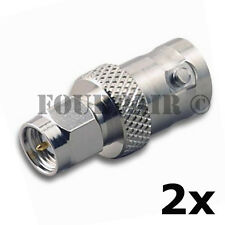 2 Pack - SMA Male Plug to BNC Female RF Coax Antenna Adapter Converter Connector