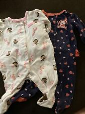 child of mine baby girl 0-3 Months Sleepers With Ruffles Monkey Bunny