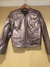 Grey Metallic Leather Jacket By Freda, Brand New Without Tags - Size 8