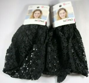 Scunci Real Style Black Netting Headwraps 58599-A Lot of 2