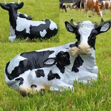 Gartenfigur Kuh mit Kalb Kälbchen lebensecht Tierfigur Garten Deko Bauernhof 764