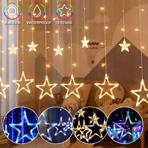 2M Christmas LED Curtain Star Fairy Lights Party Garden Window Xmas Prop Decor