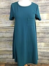 Lularoe Solid Jade Green Carly High Low Dress Pocket Textured Diamond XS