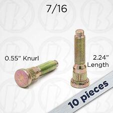 "10pc | 7/16 Lug Studs Bolts | Grade 10.9 | 0.55"" Knurl | 2.24"" Total Length"