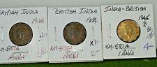 British India 1 Anna 1944,44,45b (3) coin lot
