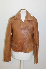 MANGO Ladies Tan Brown Leather Long Sleeve Collared Zip Biker Jacket Size S