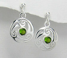 Sterling Silver Sparkling Light Green CZ Swirl Dangle Pushback Earrings
