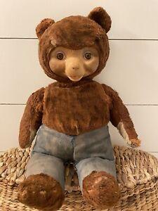 "Vintage Original 1950's/60's Smokey The Bear Stuffed Animal 17"" Rubber Face"