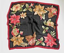 Vintage 100% Silk Scarf Christmas Print Poinsettia Hol 00000A5D ly Ornaments 20� x 20�