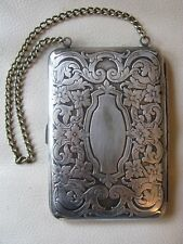 Antique Art Nouveau Floral G Silver Card Case Compact Coin Holder Purse BLB