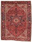 Vintage Tribal Oriental Heriz Goravan Rug, 8'x11', Red, Hand-Knotted Wool Pile