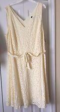 Sharagano Woman Pale Yellow Lacy Sleeveless Dress w/ Self Belt Size 24W $138