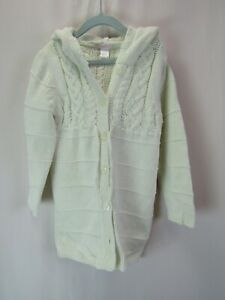 Janie & Jack Girls 5 5T Off White Button Down Hooded Sweater Coat Jacket