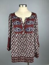 Women's Lucky Brand Wine Red Blue White Bohemian BOHO Blouse Tunic PLUS 3X