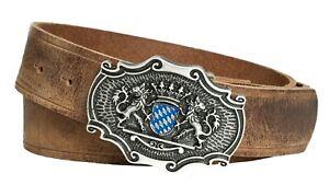 Echtleder Gürtel; Trachtengürtel; Bayerwappen blau-weiß  und bayer. Löwen, Gürte