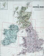 1883 LARGE MAP BRITISH ISLES IRELAND CONNAUGHT SCOTLAND ENGLAND DEVON CORNWALL