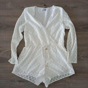 Toby Heart Ginger Womens Size XS White Boho Festival Tie Front Romper Playsuit