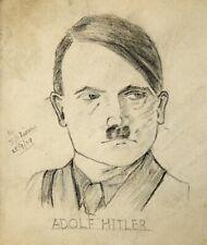 More details for vintage 1939 sketch adolf hitler portrait original 1930s wwii era wartime