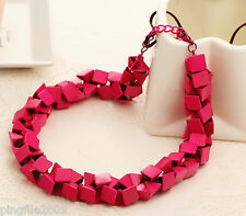 New Fashion Luxury Plum Jewelry Bib Statement Neon Chunky Necklace Q690