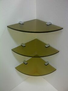 PACK OF 3 ACRYLIC CORNER SHELVES 180MM TO 300MM SIZES VARIOUS PERSPEX COLOURS