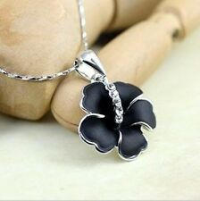 18K White Gold Crystal Black Clover Flower PNecklace And Pendant