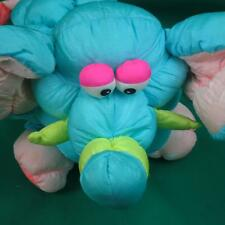 VINTAGE 1990 PRESTIGE TOY CORP. GREEN TEAL PUFFALUMP ELEPHANT PLUSH SQUEAKER TOY