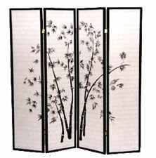 Brand New 4-panel Paper Shoji Screen with bamboo painting room divider- Asdi