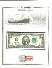 2 Dollars Liberia Banknote WORLD CURRENCY COLLECTION Paper Money UNC Stamp MINT