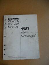 Honda Warranty Flat Rate Manual 1987 Atv Motorcycle