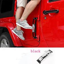 Black Door Hinges Foot Rest Pedal Peg No Drilling For Jeep Wrangler JK 2007-2016