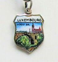 LUXEMBOURG Vintage Silver Enamel Travel Shield Charm for Souvenir Bracelet