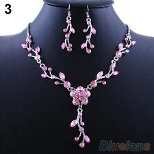 Bride's New Stylish Flower Rhinestone Alloy Choker Necklace Earrings Jewelry Set