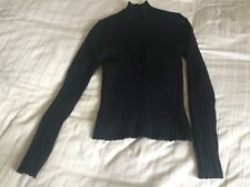 Jigsaw Black 100% Wool Black Polo Neck Chunky Knit Jumper Size S