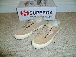 SUPERGA LADIES 2750 Classic trainers in beige suede  SIZE 4 UK 37 EUR
