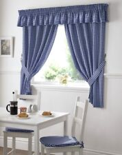 Gingham Check Blue White Kitchen Curtains Drapes W46 X L42 Tiebacks Included