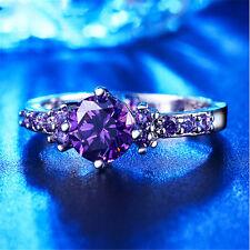 Size 10 Women fashion PURPLE Amethyst Gemstone Crystal Silver Ring Jewelry
