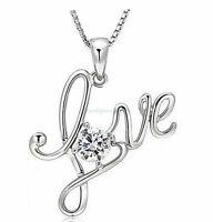 ❤️ Love Anhänger Panzerkette Halskette Silber Zirkonia Damen-Kette Geschenke ❤️