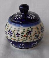Handbemalte Zuckerdose aus Bunzlauer Keramik,ca. 8 cm Durchmesser  eu0420