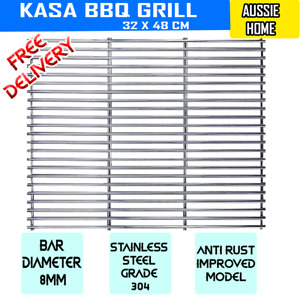 BARBECUE STAINLESS STEEL BBQ GRILL GRILLE PLATE 48  X 32 cm  SOLID 8mm BARS