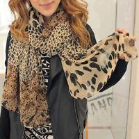 Women Large Leopard Scarf Chiffon Neck Wrap Shawl Summer Beach Stole Headscarf