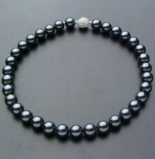 10mm Black South Sea Shell Pearl Necklace 18 Crystal magnet clasp